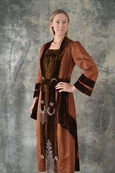 Edwardian Auburn Velvet Beaded Gown by Petrune on Etsy, $650.00
