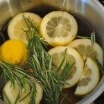 You know that wonderful smell when you walk into Williams Sonoma? Here's how to get it: water, sliced lemon, 3 springs of fresh rosemary and about a teaspoon of vanilla. Simmer on the stove....this smells amazing! I used 2 lemons, 3 sprigs of rosemary and about 2 tablespoons if vanilla. It only took 5 minutes to make the whole house smell fresh! - My-House-My-Home