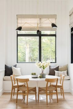 dinning nook - white, natural, and black accents interior traditional Modern Lake House: Kitchen + Nook Dinning Nook, Dining Room Storage, Dining Room Lighting, Dining Room Design, Kitchen Dinning, Dining Rooms, Dining Chairs, Kitchen Banquette Ideas, Kitchen Nook Bench
