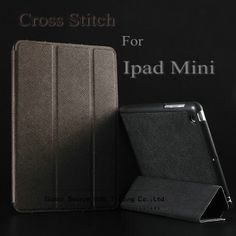 Hot !!! Cross stitch leather case for ipad mini luxury smart case for ipad mini Hard Shell Anti-skid Rubber Leather back cover $10.88