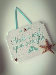 Make a Wish Upon a Starfish sign! Tutorial here! Perfect for sissy's mermaid room Mermaid Bedroom, Mermaid Nursery, Girl Nursery, Sea Nursery, Ocean Room, Beach Room, Ideas Dormitorios, I Need Vitamin Sea, Beach Bathrooms