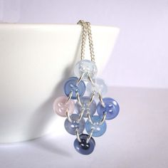 Blue Diamond Necklace - Upcycled Buttons and Chain