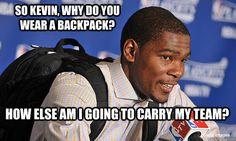 The reason why Kevin Durant wears a backpack Air Max Thea, Air Max 1, James Harden Shoes, Nike Inspiration, Air Max Classic, Nike Air Max 2012, Basketball Memes, Nike Headbands, Nike Spandex