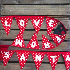 LOVE FROM SANTA bunting red and white traditional by EmmaBuntingUK