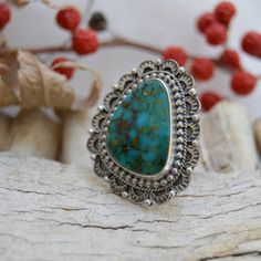 RESERVED FOR EMILY :  Turquoise Mountain Sunrise Ring Sterling Silver Size 5.75 Boho Gypsy Southwest Navajo style Metalwork Hand Stamped