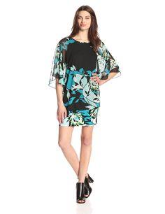 Printed Flutter Sleeve Banded Dress by MSK