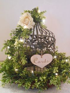 Wedding Bird Cage Card Holder / Rustic Wedding / by YesMoreFunk, $150.00  GREEN AND LIGHTS NICE TOUCH