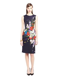 Oscar de la Renta - Floral Bouquet Silk Faille Pencil Dress