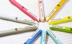 You can create your own COCOIRO Letter Pen unique and individual to your style by choosing your own colorful body color and refill color. It is a fine tip marker that is flexible... the harder you pus