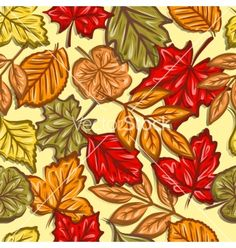 Autumn leaves seamless pattern vector by 1001holiday on VectorStock®