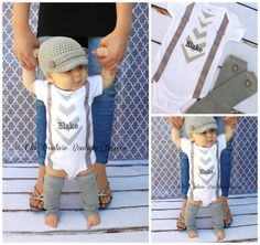 New Baby Boy Personalized Tie And Suspenders Bodysuit & Button Leg Warmers SET. Gray Grey Chevron or Make Your Own. Burgundy, Tan Chocolate on Etsy, So cute