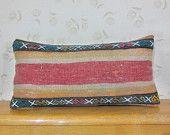 """12x24""""Kilim Lumbar Pillow Kilim pillow Lumbar Kilim Pillow Lumbar Throw Pillow Turkish Cushion Outdoor Floor sham Bohemian accent decorative"""