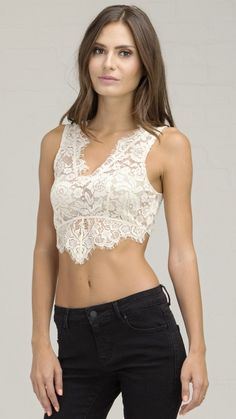 Princess Lace See Through Bra Top - Cream
