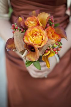 Fiery Orange Bridesmaid Bouquet with Flame Calla Lilies