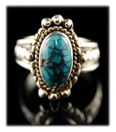 Beautiful! Silver Band Ring with Tibetan Turquoise