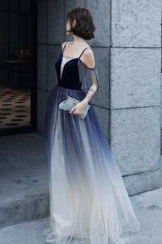 Blue Ombre Spaghetti Straps Long Prom Dress with Tassels, Unique Evening Dress Prom Dresses For Teens, Prom Dresses 2017, A Line Prom Dresses, Mermaid Prom Dresses, Cheap Prom Dresses, Sexy Dresses, Evening Dresses, Dresses With Sleeves, Formal Dresses