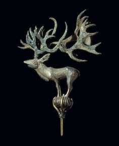Pazyryk culture, Terminal: Stag on a Ball, 5th century BC. The Pazyryk culture is an Iron Age archaeological culture (ca. 6th to 3rd centuries BC) identified by excavated artifacts and mummified humans found in the Siberian permafrost in the Altay Mountains and nearby Mongolia.