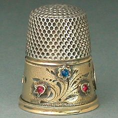 Antique Jeweled & Gilded Band Silver Gabler Thimble * Circa 1900s