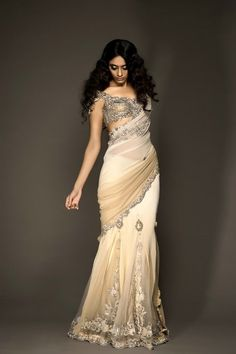 white and cream sari with silver work  Kisneel by Pam Mehta