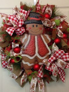 Gingerbread Mesh Wreath on Etsy, $105.00