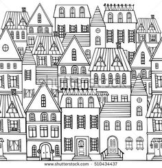Black and white sketch panorama of the city. Sketch of city architecture. Vector illustration drawn by hand. a house Black White Sketch Panorama City Doodle Stock Vector (Royalty Free) 510434434 Black And White City, Black And White Sketches, Building Illustration, House Illustration, Doodle Sketch, Doodle Art, House Doodle, Panorama City, House Quilts