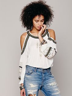 Free People Embellished Banded Open Shoulder Top, $148.00