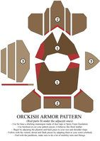 User Taxfrogmanful requested the pattern for the Orckish armor, to use as a base for his own creation. Unfortunately, the original linoleum pattern, cut on the fly, was reclycled into other project. Larp Armor, Cosplay Armor, Knight Armor, Cosplay Diy, Cardboard Costume, Cardboard Crafts, Knight Costume, Foam Armor, Armadura Medieval