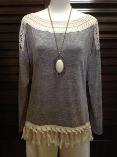 Entro - Grey sweater with fringe and crochet insets along neck and shoulders - $67