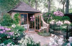 Adore the romantic pairing of roses and rhododendrons, lilies and Astilbes. Lovely old-fashioned garden charm. Design by Maureen Gilmer in Morongo Valley, CA. For more planting ideas, visit http://www.landscapingnetwork.com/plants/traditional.html