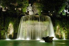 Villa d'Este, Tivoli, fountain at night.