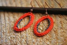 REDUCED  Beaded Crochet Earrings. Dark Coral and by LavenderField, $14.00