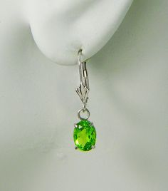 Items similar to White Gold Dangle PERIDOT Oval Drop Gemstone Lever Back Earrings, Classic European Style Wire, Drop Dangle Earrings on Etsy 14k White Gold Earrings, Green Gemstones, Gold Style, European Fashion, Peridot, Ear Piercings, Belly Button Rings, Dangle Earrings, Studs