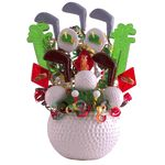 If you want to send a golf themed candy gift to a golfer as a birthday gift or a get well gift, or a congratulations on your golf achievement, why not send this delicious golf lollipop bouquet.  Our golf candy gift is made of 17 handmade golf club, golf ball, and other golfing-icon lollipops which fill this decorative ceramic golf ball. Some of the wonderful flavors are wild cherry, marshmallow and watermelon. A delicious gift for any golfer!This item ships next business day (order must be…