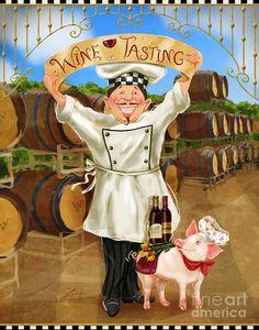 Vintage Wine Wine Tasting Chef Mixed Media Shari Warren - Wine Tasting Chef Mixed Media by Shari Warren Vintage Food Labels, Vintage Wine, Vintage Cars, Chef Kitchen Decor, Kitchen Art, Food Painting, Pet Pigs, Wine Art, In Vino Veritas