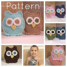 PATTERN Owl Washcloth Bath Mitts Crochet Pattern Instant Download