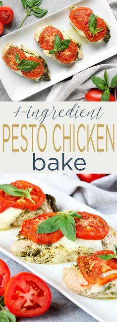 Coat chicken breasts in pesto and arrange them in a baking dish. If you don't have homemade pesto, you can use store-bought, just check the ingredients and make sure there aren't any wonky (<—– is that a word?) ingredients.