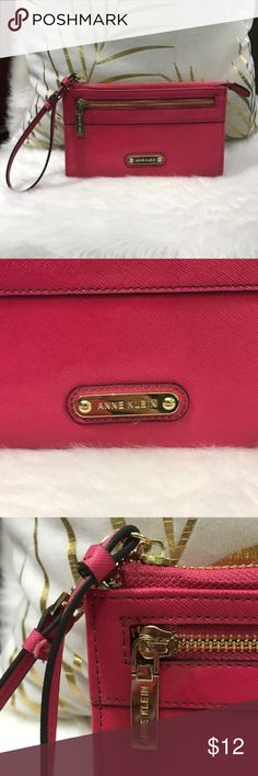 """Anne Klein pink wristlet EUC!! EUC! Pink Anne Klein wristlet with gold toned hardware and black & white polka dot interior. Smoke Free/Pet Free. 7 1/2"""" length 4 1/2"""" height  Offers Are Welcomed. All Sales Are Final. Anne Klein Bags Clutches & Wristlets"""