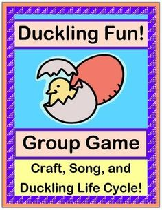 Learn about the LIFE CYCLE OF A DUCKLING with 'TALKING POINTS', a GROUP GAME, a SONG, and a colorful DUCKLING CRAFT!  Includes Book Suggestions and easy SONG DIRECTIONS with great 'moves'!  Make some EGG SHAKERS and 'keep the beat'!  (6 pages)  From Joyful Noises Express TpT!  $