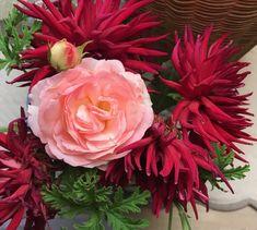 Autumnal Dahlias and rose 'Pierre de Ronsard' at Ca' delle Rsoe Dahlias, Autumnal, Flowers, Plants, Dahlia, Dahlia Flower, Plant, Royal Icing Flowers, Flower