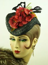 VINTAGE HAT 1940s GAGE BROTHERS NY, STRAW TILT TOPPER, NAVY w DEEP PINK FLOWERS