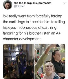 Loki character development at its finest. (But Loki was mind controlled in the Avengers). Meme Comics, Funny Marvel Memes, Marvel Jokes, Avengers Memes, The Avengers, Captain Marvel, Marvel Dc Comics, Marvel Heroes, Marvel Avengers