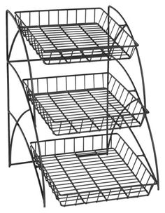 Display Rack. Tiered rack displays more product in less space. Powder coated black steel wire construction. http://www.farmersmarketonline.com/marketsupply.htm