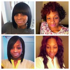 Love these styles rod curls,sew in,bob and bob with a bang