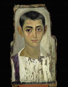 "Fayum mummy portrait ""Love these things-staring back out of the afterlife."" KB"