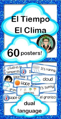 Spanish / English Dual Language Posters with Weather Phrases, Questions and Vocabulary!  Great Word Wall for the Entire Year or during your El Tiempo / El Clima Unit!  60 word wall posters included!  La Profesora Frida, TeachersPayTeachers