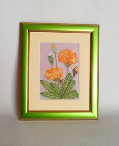 Picture embroidery natural silk ribbon by SilkRibbonBoutique