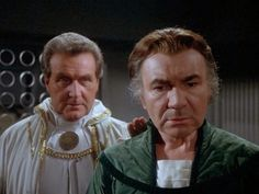 "Patrick Macnee as Count Iblis and John Colicos as Baltar on ""Battlestar Galactica""."