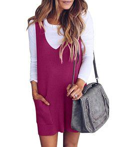 e0cd6d1ffea Saodimallsu Womens Racerback Ribbed Loose Sweater Dresses Casual Knit V Neck  Tank Dress with Pockets V