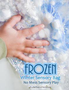 A Little Pinch of Perfect: No Mess Sensory Play: Frozen Winter Sensory Bag-wont freeze little hands