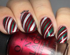 Wrapping Paper Stencils for Nails, Candy Cane, Christmas Nail Stickers, Nail Art, Nail Vinyls - Medium Stencils) Christmas Nail Stickers, Cute Christmas Nails, Christmas Manicure, Xmas Nails, Red Nails, Hair And Nails, Christmas Candy, Red And Silver Nails, Christmas Ornaments